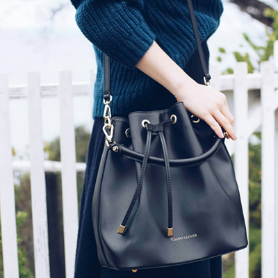 Tuscany Leather Vittoria Leather Bucket Bag